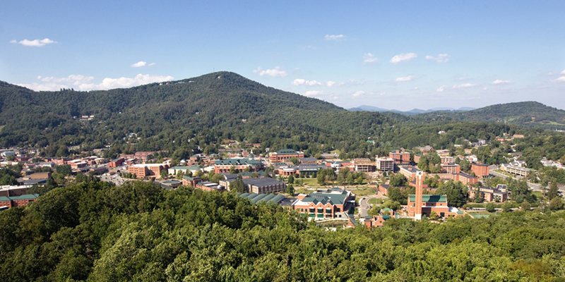 Aerial view of Appalachian's campus in summer