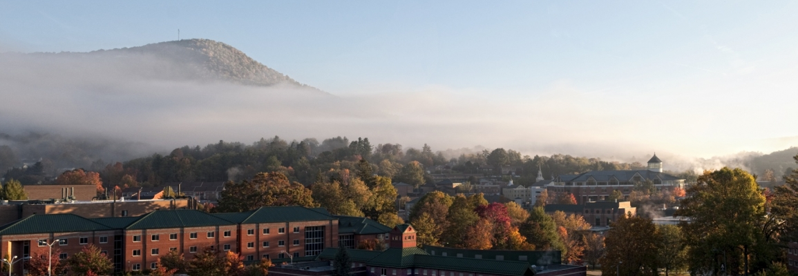 Panoramic view of Appalachian State's campus in autumn